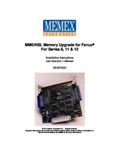 HSL Memory Upgrade for Fanuc For Series 6, 11 & 12