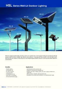 HSL Series Well-Lit Outdoor Lighting