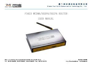 HSUPA ROUTER USER MANUAL