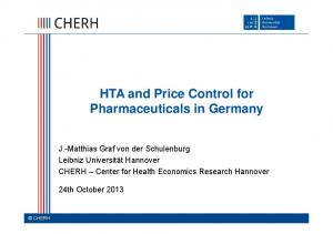 HTA and Price Control for Pharmaceuticals in Germany