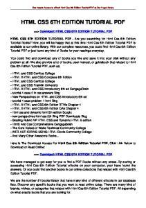 HTML CSS 6TH EDITION TUTORIAL PDF