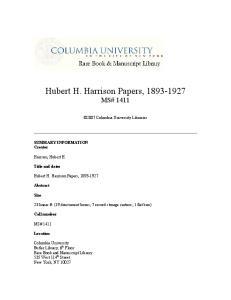 Hubert H. Harrison Papers, MS# 1411