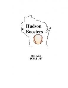 Hudson Boosters TEE-BALL SKILLS LIST