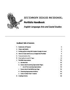 Hudson High School Portfolio Handbook