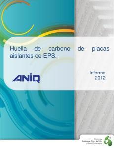 Huella de carbono de placas aislantes de EPS. Informe 2012