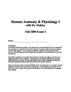 Human Anatomy & Physiology I with Dr. Hubley