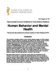 Human Behavior and Mental Health