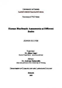 Human Bioclimatic Assessments at Different Scales