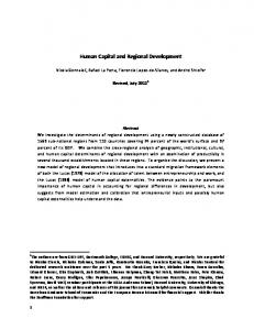 Human Capital and Regional Development