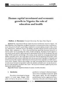 Human capital investment and economic growth in Nigeria: the role of education and health