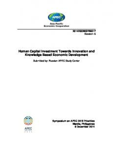Human Capital Investment Towards Innovation and Knowledge Based Economic Development