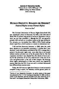 HUMAN DIGNITY: REASON OR DESIRE? Natural Rights versus Human Rights