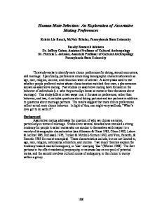 Human Mate Selection: An Exploration of Assortative Mating Preferences