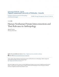 Human-Nonhuman Primate Interconnections and Their Relevance to Anthropology
