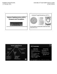 Human Papillomavirus (HPV) Disease and Prevention