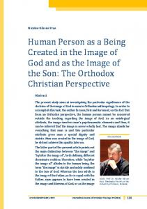Human Person as a Being Created in the Image of God and as the Image of the Son: The Orthodox Christian Perspective