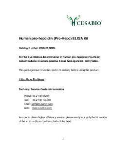 Human pro-hepcidin (Pro-Hepc) ELISA Kit