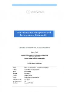 Human Resource Management and Environmental Sustainability