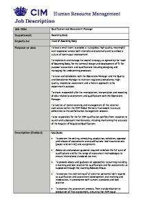 Human Resource Management. Job Description. Job Title: Department: Reports to: Purpose or aim: Description (Duties):