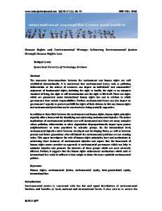 Human Rights and Environmental Wrongs: Achieving Environmental Justice