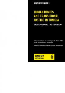 HUMAN RIGHTS AND TRANSITIONAL JUSTICE IN TUNISIA