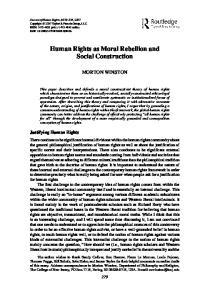 Human Rights as Moral Rebellion and Social Construction
