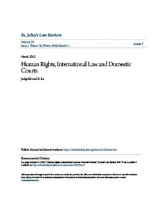 Human Rights, International Law and Domestic Courts