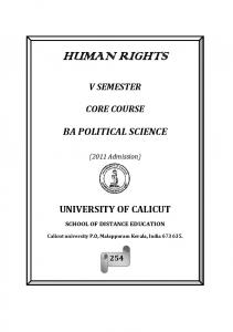 HUMAN RIGHTS V SEMESTER CORE COURSE BA POLITICAL SCIENCE. (2011 Admission) UNIVERSITY OF CALICUT SCHOOL OF DISTANCE EDUCATION