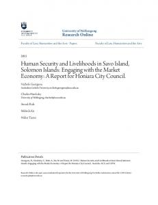 Human Security and Livelihoods in Savo Island, Solomon Islands: Engaging with the Market Economy: A Report for Honiara City Council