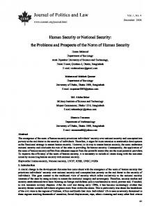 Human Security or National Security: the Problems and Prospects of the Norm of Human Security