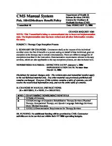 Human Services (DHHS) Centers for Medicare & Medicaid Services (CMS) Transmittal 46 Date: FEBRUARY 13, 2006
