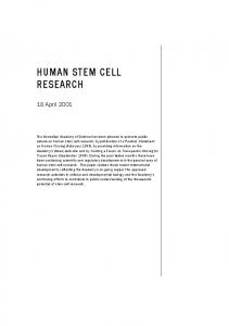 HUMAN STEM CELL RESEARCH