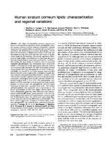 Human stratum corneum lipids: characterization and regional variations
