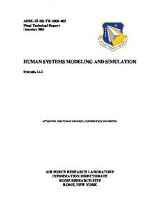 HUMAN SYSTEMS MODELING AND SIMULATION