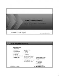 Human Trafficking Compliance