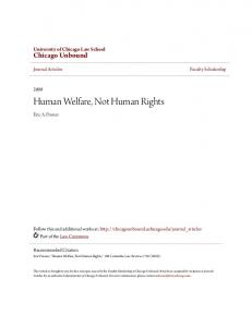 Human Welfare, Not Human Rights