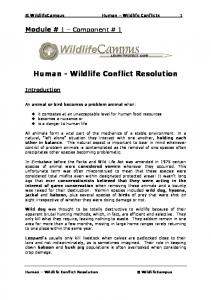 Human Wildlife Conflict Resolution