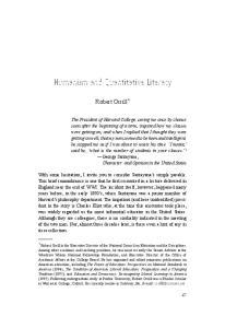 Humanism and Quantitative Literacy