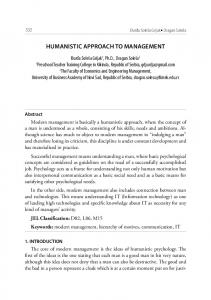 HUMANISTIC APPROACH TO MANAGEMENT
