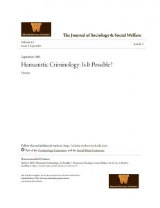 Humanistic Criminology: Is It Possible?