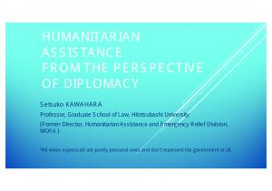 HUMANITARIAN ASSISTANCE FROM THE PERSPECTIVE OF DIPLOMACY