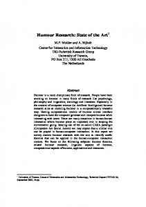 Humour Research: State of the Art 1