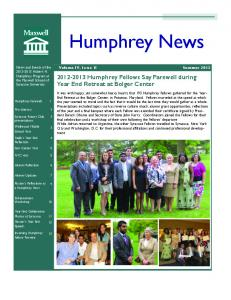 Humphrey News Humphrey Fellows Say Farewell during Year End Retreat at Bolger Center. Summer Volume IV, Issue 1I