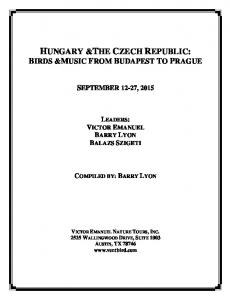 HUNGARY &THE CZECH REPUBLIC: BIRDS &MUSIC FROM BUDAPEST TO PRAGUE