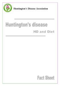 Huntington s Disease Association. HD and Diet