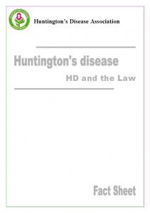 Huntington s Disease Association. HD and the Law