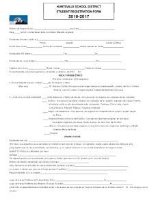 HUNTSVILLE SCHOOL DISTRICT STUDENT REGISTRATION FORM