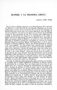 HUSSERL Y LA FILOSOFIA