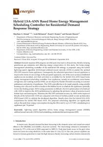 Hybrid LSA-ANN Based Home Energy Management Scheduling Controller for Residential Demand Response Strategy