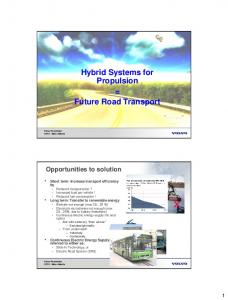 Hybrid Systems for Propulsion = Future Road Transport